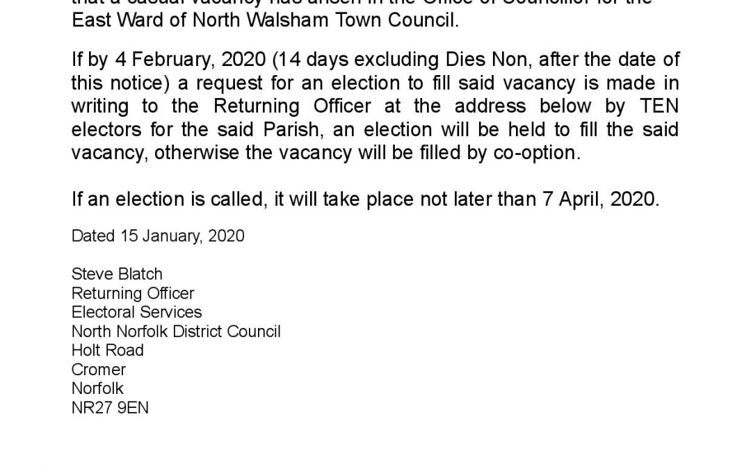 2nd Vacancy for East Ward Councillor